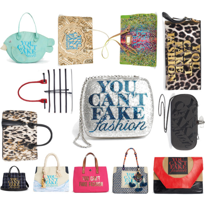 "5 More Days to Purchase Your Fav Designer Bag for a Good Cause Welcome to our third year of the coveted custom made bags created by top designers. Publications such as Harpers Bazaar and WWD, among others, celebrated our launch event for You Can't Fake Fashion on Monday night, where the bags premiered for the first time. Monies go towards CFDA to combat counterfeit. Support original design and take home one of these beauties. Here's a peek at the collection: Clockwise (starting Top Left) • Loomstate  • Reem Acra  • Sam Edelman  • Herve Leger by Max Azria • Marchesa …[MORE] • Vivienne Tam • Tory Burch • Kate Spade New York • Band of Outsiders • Jean-Michel Cazabat • Carolina Herrera • Tommy Hilfiger  • Center: Judith Leiber  Visit You Can't Fake Fashion to view each bag at a glance and start your bidding. Beyond the bags seen above, we've got additional ones by John Varvatos, Alice + Olivia, Diane Von Furstenberg, Costello Tagliapietra, Alejandro Ingelmo, Pamela Love, Monica Botkier for Botkier Bag, Prabal Gurung, and Zac Posen among others — a total of 90 unique bags up for auction. It's like dying and going to bag heaven!   (""You Can't Fake Fashion"" for CFDA / eBay by jauretsi on Polyvore)"
