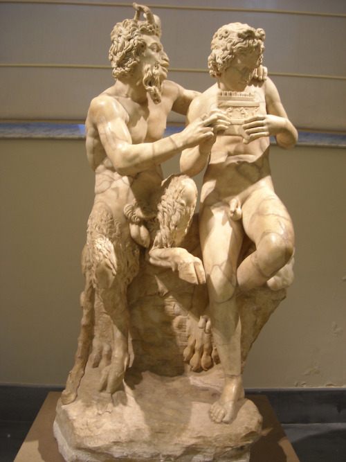 pansgrotto:  PAN AND THE SHEPHERD BOY DAPHNIS Statue at the Louvre Museum in Paris, France.