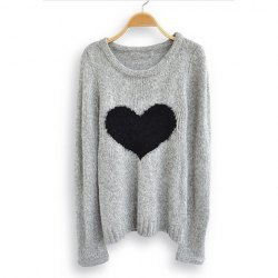 classy-lovely:  Fashionable Scoop Neck Love Heart Pattern Long Sleeve Sweater For Women