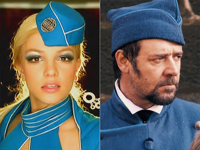 "Celeb Quote of the Week #1   ""LOL. Cute hat @RussellCrowe. You wear it well. Maybe we should perform a Toxic/Work Song mashup ;)""  – Britney Spears, complimenting the Les Misérables star's striking resemblance to her ""Toxic"" video persona, on Twitter     See more star zingers here!"