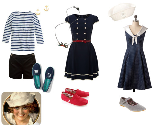 Sailor style! by robbie featuring a polka dot dress