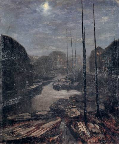 le-desir-de-lautre:  Adolph von Menzel (German, 1815-1905), Moonlight on the Friedrichskanal in Old Berlin, c. 1856, oil on canvas, 40 x 33 cm, Nationalgalerie, Berlin