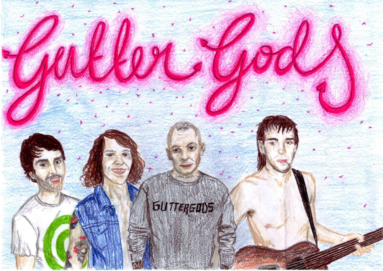 readytorot:  Gutter Gods fan art by Katie from Sydney.Tom, Alessandro, Allan and Nathan are The Gutter Gods, a teen quartet stealing the hearts and minds of every teenager nationwide.