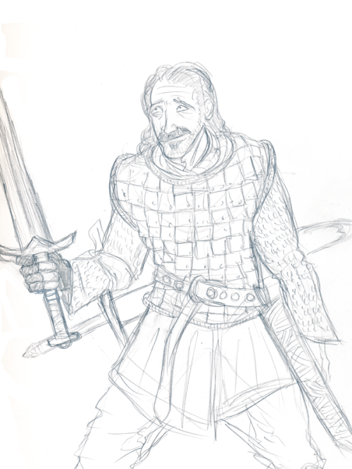 Sketch of Bronn from Game of Thrones.