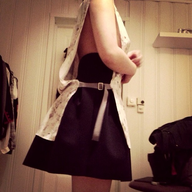 A. Wang pleated skirt + @pink8fash's MM6 smock. Happy First day of fashion month! 😍#maisonmartin #wang #nyfw #næt