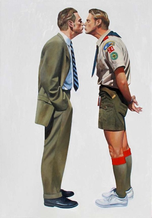 argonauticos:  monsieurlabette:  'Kissing and Shooting' oil on canvas  peterbowles.net
