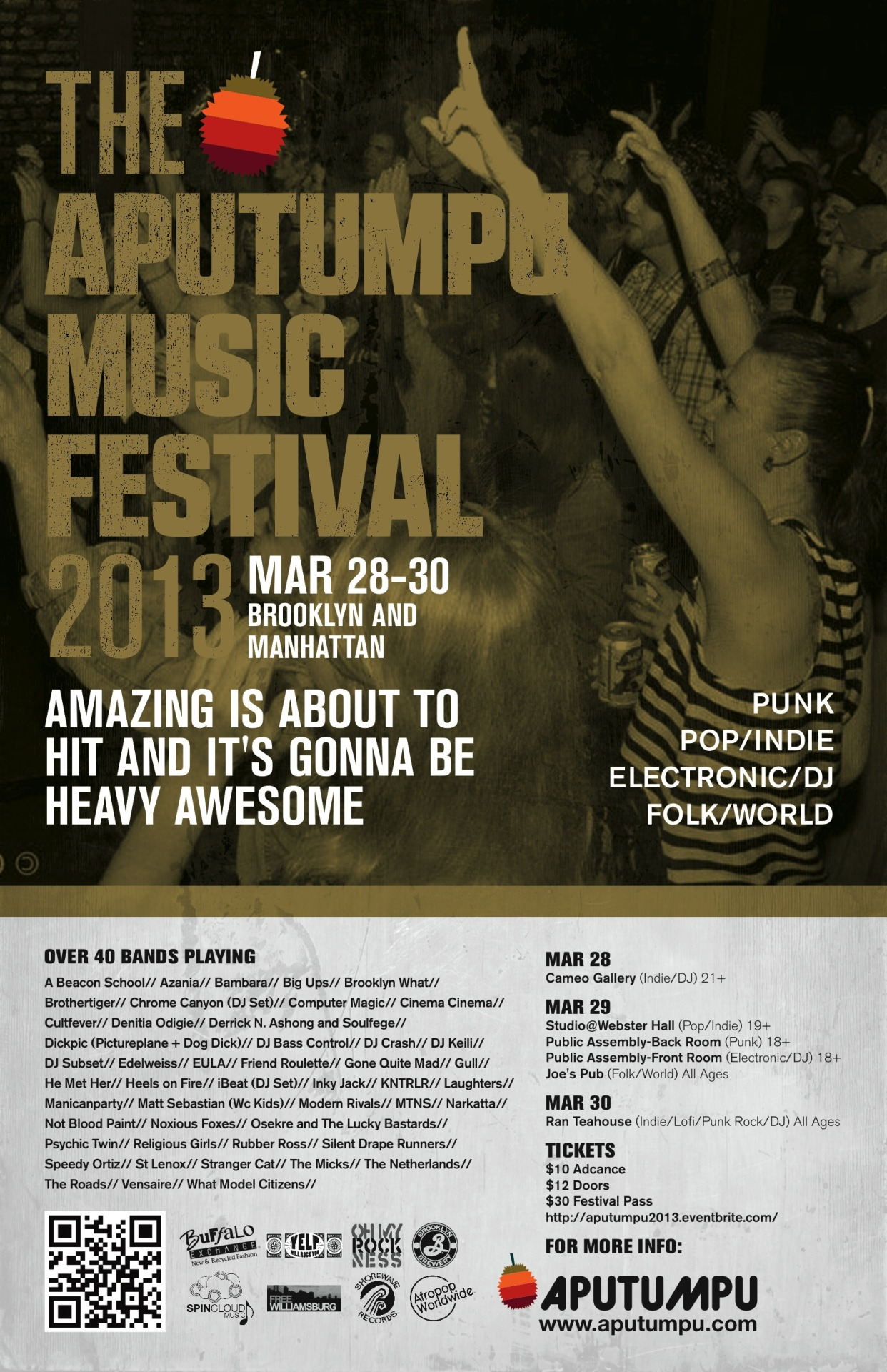 Very excited to be playing the Aputumpu Festival this weekend in NYC.  We're on at 9pm at the Studio at Webster Hall on Friday (19+) and sharing the stage with some local friends (Modern Rivals, Friend Roulette, Manican Party, to name a few). In related news, Aputumpu is partnering with SpinCloud Music on an audio map — unique because it's aimed at music festival-attendees.  After coming back from SXSW, we're selfishly excited that something like this exists.  Festivals are a zoo and it's nice to know someone will hold our hands through them from now on. We're also grateful that our music is a part of the start up endeavor. For the curious, you can read more about what SpinCloud and Aputumpu are up to here. Tickets to our show at the Aputumpu Festival this weekend can be found here.