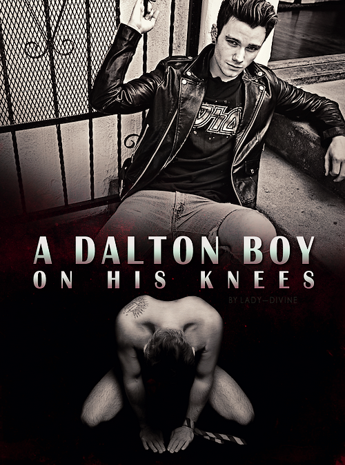 Kurt sits on a stoop above the title of the story. Underneath him, a naked Sebastian kneels.