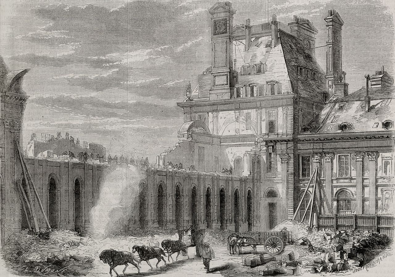 Demolition of the old Pavillon de Flore and parts of the Grande Galerie at the Louvre, Paris