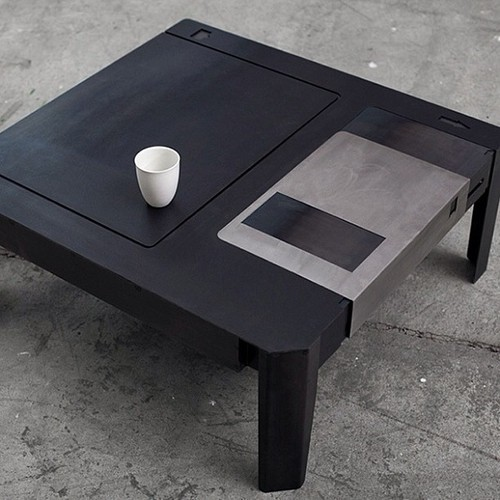 frickyeah1990s:  my apartment could use a floppy disk coffee table.