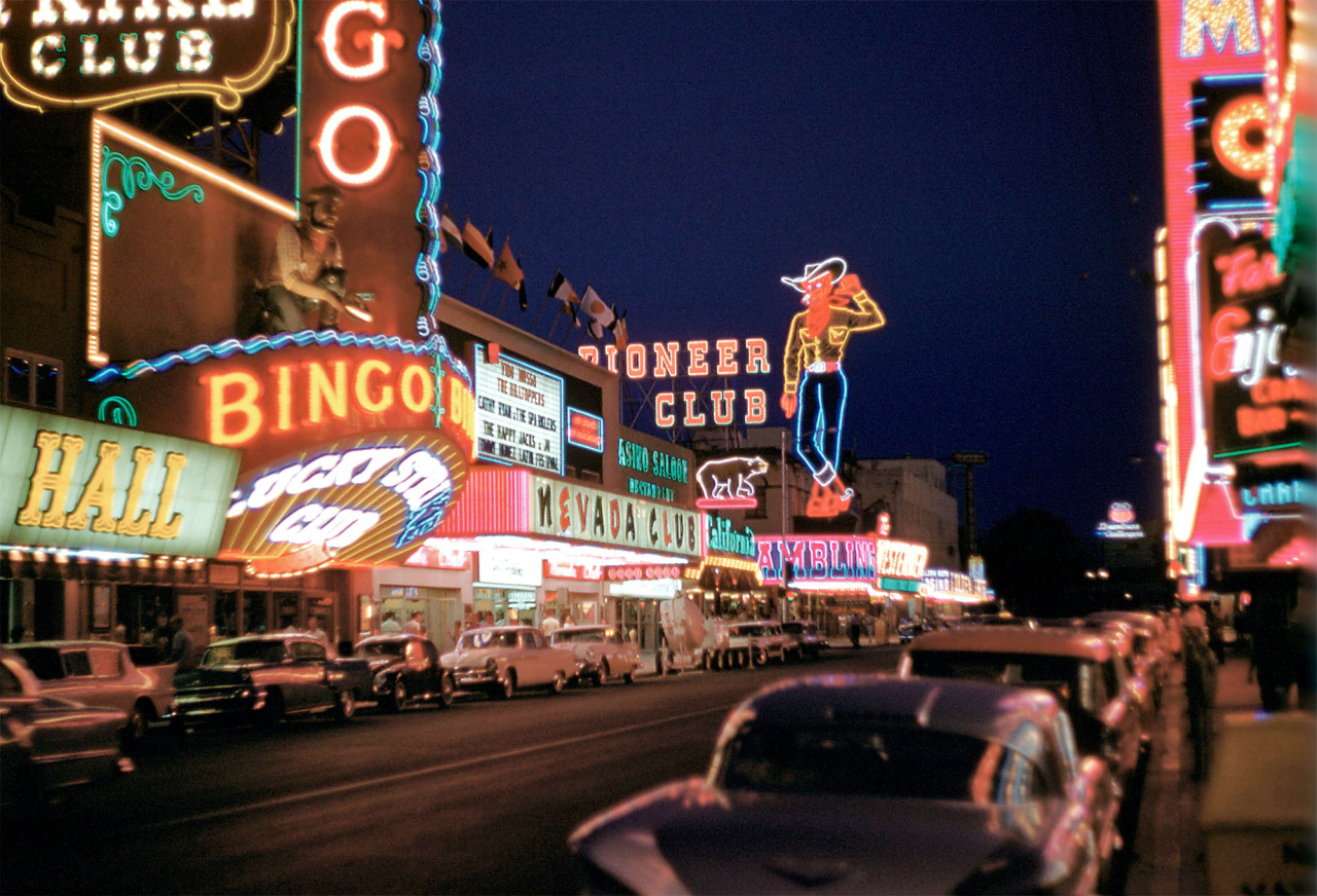 Las Vegas, 1958From Shorpy, a really excellent site you should know I'm having a quiet, restful weekend, but I'm hoping to do a neon visit some time next week.  Some reminders from the neonoverse: if you're interested in the update to the Project Neon iPhone app, it would help speed things along if you could see your way to donating $1, $2, $5, what ever you feel like throwing in the tip jar. If you'd like to own a piece of neonalia, visit the Project Neon Etsy shop. I'm finishing up a letter C alphablock right now that I'm very pleased with. And if you'd like to keep up with little Project Neon bits and bobs, follow along on Twitter or Facebook.