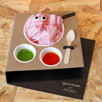 "awesome packaging for ""Eyescream and Friends"", a Barcelona ice cream store. by designer Marion Donnewed and architect Merche Alcala Barcelona."