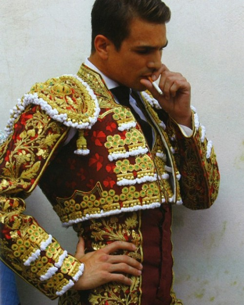 vermilionborder:  Jose Maria Manzanares, Spanish Matador. A few months ago I thought they looked effete with their sparkly bolero jackets, pink tights, and ballet slippers but as I said, I've become fascinated with bullfighters recently. This too shall pass.