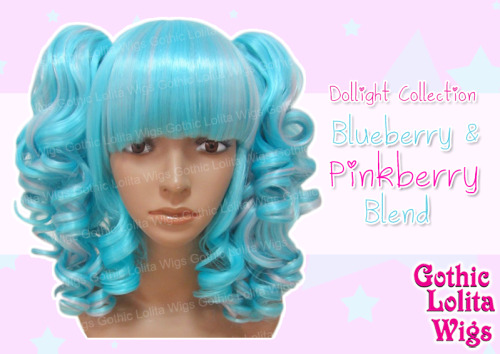 <3 Dollight Collection - Blueberry & Pinkberry Blend <3 One of our brightest wigs, our Dollight Collection's Blueberry & Pinkberry Blend is a blend of aqua blue and subtle pink streaks designed to set off any outfit! It comes pre-styled as shown, and comes with a base bob with curls at the front to frame your face, and two matching, curly ponytail clips! Available Now: www.GothicLolitaWigs.com/Dollight-Collection/