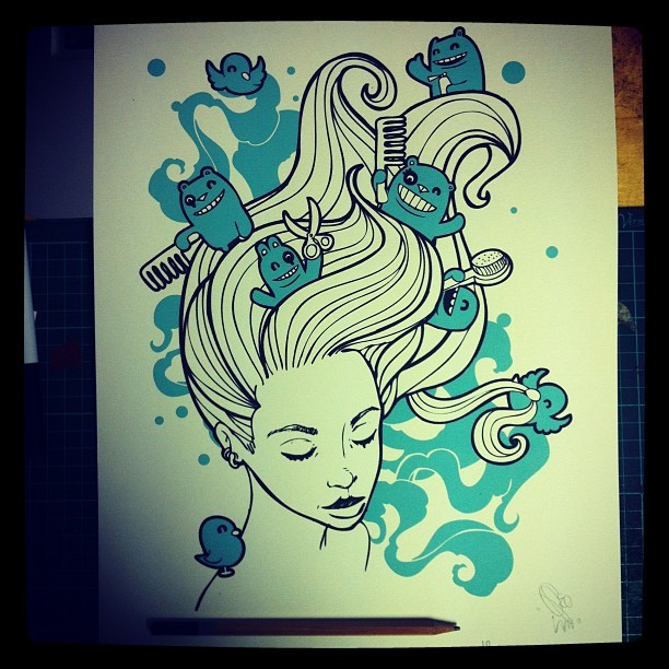 "My ""Good Hair"" print at £10 signed and stamped ready set aside for a customer #illustration #prints #hairstyle  (at S1 Artspace)"
