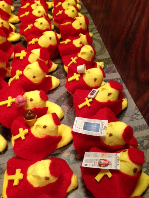 alexleo:  The Papal Conclave, Peeps-edition (via The Monkey Cage)