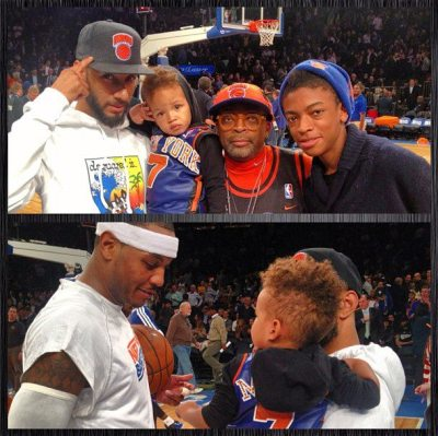 Swizz Beatz with his [+ wife Alicia Key's] son Egypt met up with Spike Lee + his son and got to hang out with Carmelo Anthony at the Knicks game in NYC yesterday…