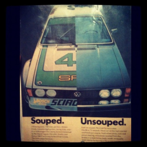 Latest addition to my collection of awesome #VW stuff! Old #Scirocco ad featuring the old #TransAm under two liters championship winning Scirocco of the '70's. Totally bitchin'.