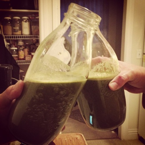 educatedcat:  Cheers! Yeah green juice! #greenjuice #vegan #healthy #powerup #kale #chard #grapefruit #orange #lemon #ginger #apple
