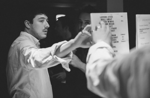 Marcus Mumford and Ben Lovett of Mumford & Sons ready the setlist for their October 18, 2012 Sydney show. Photo © James Marcus Haney.