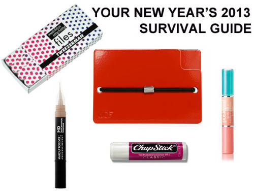Here's my New Year's Ever Beauty Survival Kit on MTV Style. Everything you'll need to make your night go smoothly, including the Wintercheck Factory Consoliwallet (William Wallet), which you probably can't get by tonight, but you should buy it anyway for life.