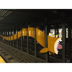 saditekin:  express line {monsters of new york} #monster #monstersofny #subway #mta #newyork #manhattan #illustration #art #character #cartoon #iphonedrawing  (at Toby's Estate Coffee)  Sadi Tekin