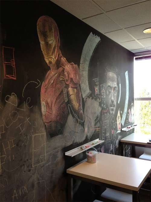 Incredible Iron Man Chalkboard Art Spotted in the Breakroom |  This is pretty impressive, wish I had a surface to do one of these in my office or home.