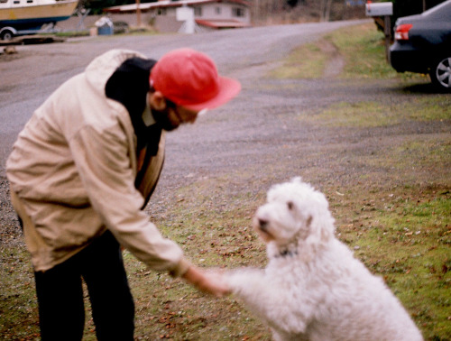 here's me shaking hands with Wooly the mayor of port townsend