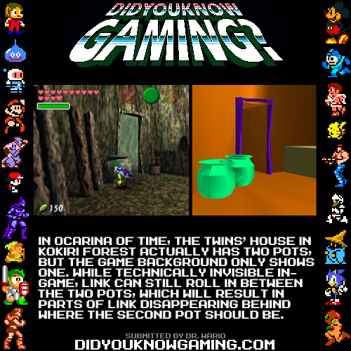 didyouknowgaming:  The Legend of Zelda: Ocarina of Time. http://tcrf.net/The_Legend_of_Zelda:_Ocarina_of_Time#Hidden_Pot_in_Twins.27_House