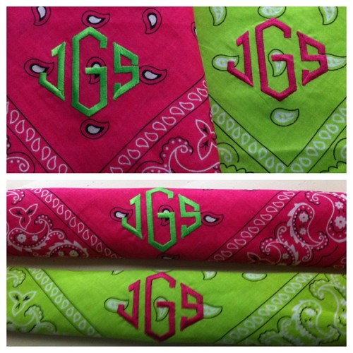 Headbands for the gym #monogramsonmonograms #pink #green #diamondfont #toomuchisneverenough