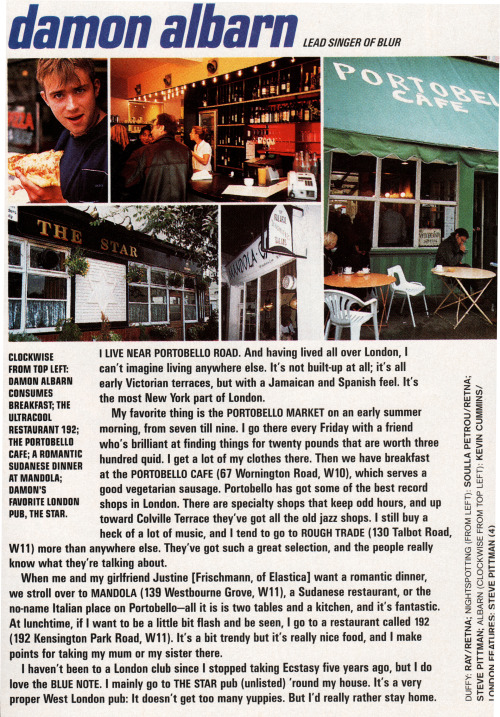A lovely little article by Damon written mid-90s on his life in the Portobello Road area of London (scan by damonalbarn)