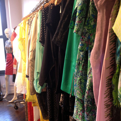 Lots of color on the rack at the Tracy Reese showroom. Photographed by Julia Rubin.