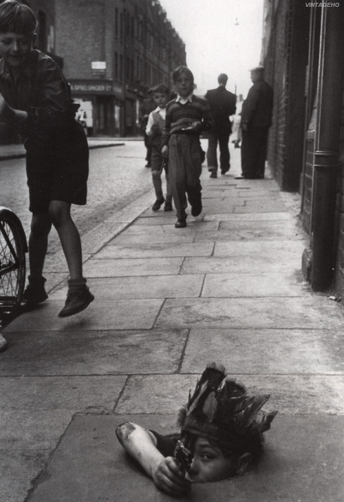 vintageho:  Children playing in the street, 1954