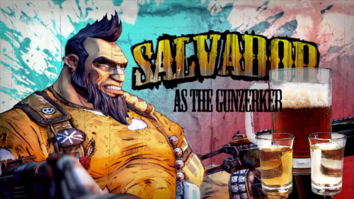 "Salvador / The Gunzerker (Borderlands 2 cocktail) Ingredients:1 oz Fireball Whisky1 oz Tequila (reposado tequila was used, but any type will do)1 bottle (Approximately 12 oz) of a paler beer such as an ale, light lager (eg a pilsner) etc.  Directions: Add the Fireball whiskey to a shot glass. Add the tequila to a second shot glass. Pour the beer into a large glass/stein. Bomb both of the shots of liquor into the beer and then consume quickly. ""DUAL WIELD, BABY!"" Drink created and photographed by Manuka Cliffe."