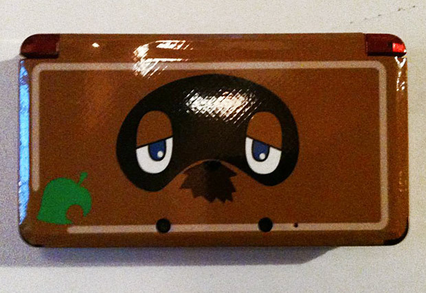 Tom Nook 3DS skin I don't know why you'd want to have the crooked moneylender on your 3DS, but 0-catch made this custom piece and printed it out at GelaSkins. It probably won't be long before we see Resetti skins too… PREORDER Animal Crossing: New Leaf, AC:NL guide, upcoming games