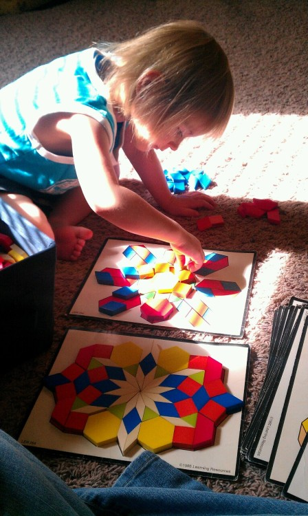 P and I playing with attribute blocks.