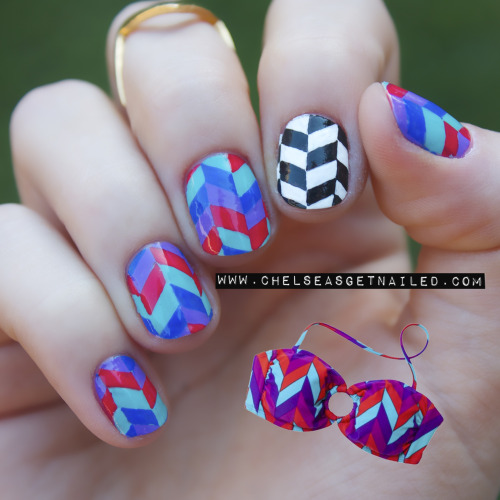 getnail-d:  Target bathing suit inspired nails! http://chelseasgetnailed.com/target-bathing-suit-inspired/