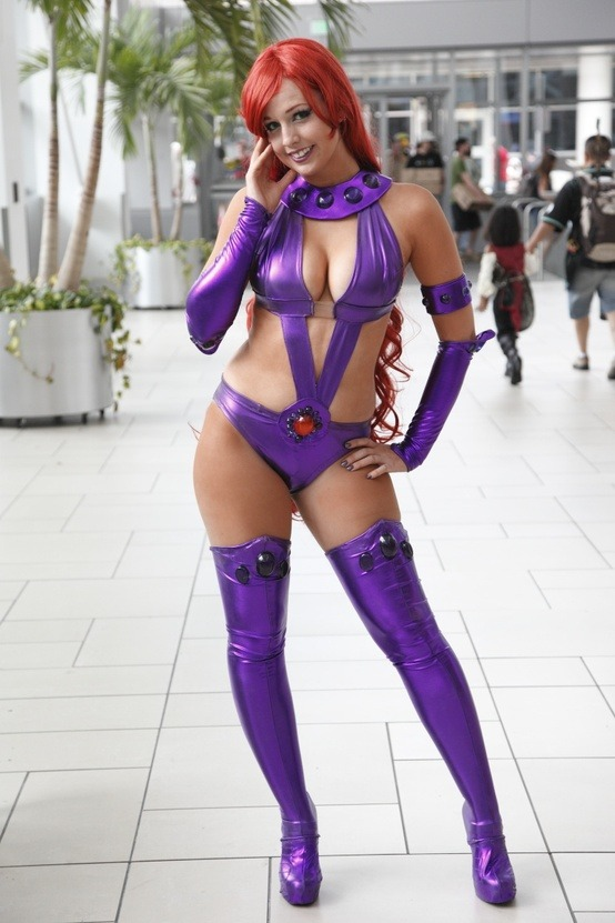 cosplay-and-costumes:  Starfire cosplay  Starfire is a hard outfit to pull off, as the comics don't really allow for the practical, real-life applications of gravity and friction.  But I like the choices this cosplayer made in the construction very much!