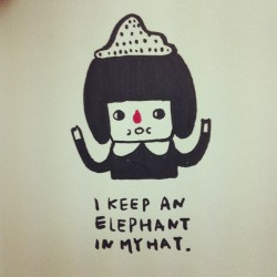 I keep an elephant in my hat!  #illustration #doodle #drawing #art #girl #hat #elephant #The Little Prince #Le Petit Prince