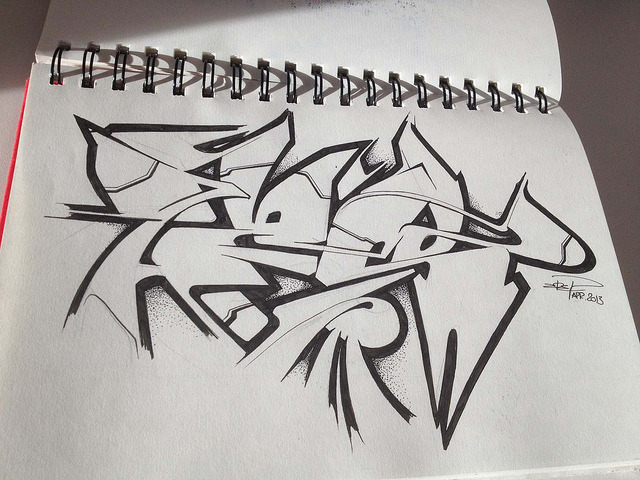 Z B E L on Flickr.Via Flickr: Sketching up some graff letters…