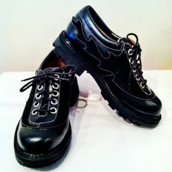 JOHN FLUEVOG black leather with black flames JUST IN, $225. Women's 8.5/9 #punk #flames #vintage  (at JLINSNIDER)