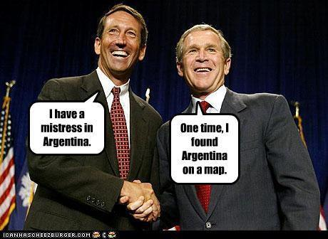 Republican Mark Sanford and his good buddy George W. Bush. Two bright and shining stars of the Republican Party.