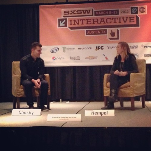 Airbnb's Brian Chesky talks with Fortune's Jessie Hempel #airbnb #sxsw13 #sxswno #session #instagram #instamoment (at Hilton Austin)