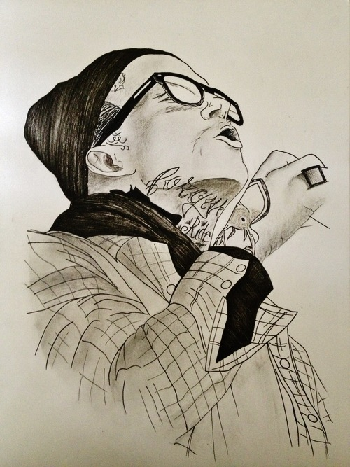 'Yelawolf'Frana BatisticPen + pencil on paper2013  Finally got around to drawing again and finished what was previously a 5 minute sketch. First drawing of 2013.