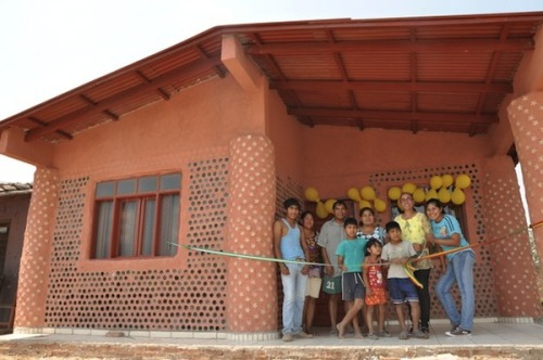 "Bolivian Ingrid Vaca Diez is on a mission to improve the housing situation for the poor in her country by using plastic bottles—the only material she can find in abundance—to build surprisingly sturdy houses. The self-taught designer of these ""garbage homes"" fills recycled plastic bottles with dirt and uses them as bricks to construct her innovative houses. To date, she has built ten such homes for poverty-stricken families.  More (including video segment): Innovative 'Garbage' Houses Made Of Recycled Plastic Bottles - DesignTAXI.com"