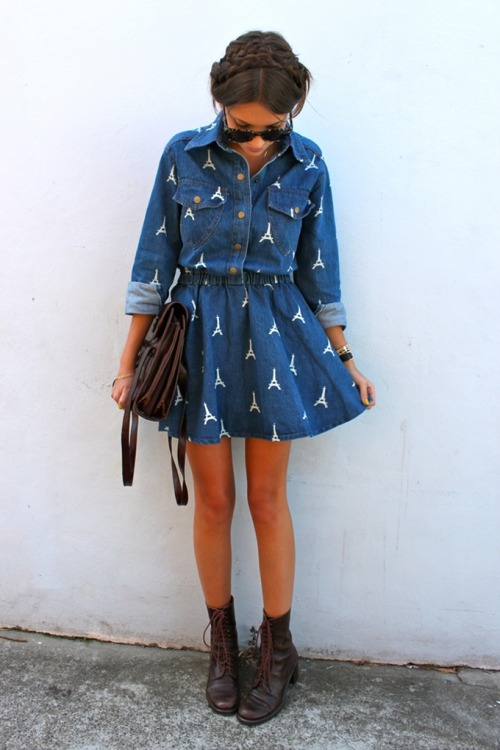"fashionpassionates:  Get the dress here: VINTAGE DENIM PARIS DRESS Shop FP | Fashion Passionates ""get your fashion fix with fashion passionates!"""