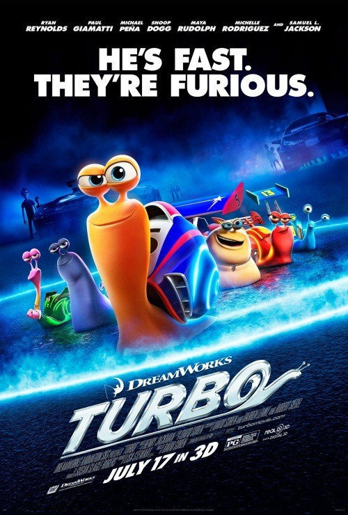"Latest Poster For DreamWorks Animation's ""Turbo""  DreamWorks Animation's upcoming summer flick Turbo has got a new poster. The film centers around a snail named Turbo (pictured front and center), who through some miraculous accident is able to move beyond his natural limits. With his new found abilities, he chases after his dream of racing in the Indy 500 with the aid of his human racer and team of fellow racing snails.  Turbo features the voice talents of Ryan Reynolds, Michael Pena, Paul Giamatti, Maya Rudolph, Bill Hader, Luis Guzman, Richard Jenkins, Ken Jeong, Michelle Rodriguez, Snoop Dogg and Samuel L. Jackson, with a release date set for July 17th. [IMPAwards] —— Featured:  Films That Failed To Stick The Landing Friend Us: Facebook and Twitter"