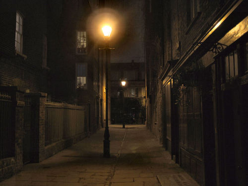 A fantastic night time image of Puma Court, Whitechapel, taken by Rob Clack. This is taken from the Commercial Street end looking towards Brick Lane. if you've been to Whitechapel in the evening you'll know that Puma Court looks like this even today and has pretty much remained unchanged for 200 years. Along with Fournier Street and Artillery Lane it's one of the best preserved streets in Whitechapel.