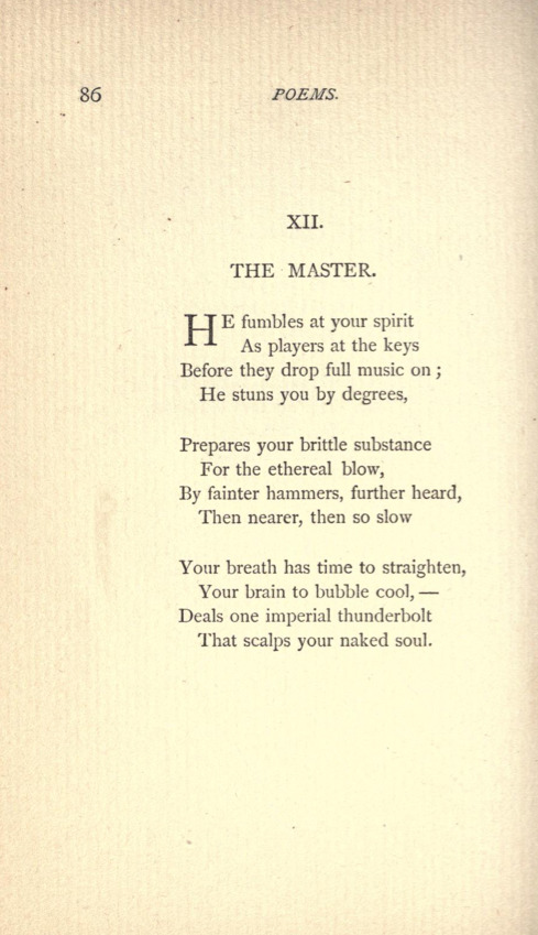 """The Master"" by Emily DickinsonPoems by Emily Dickinson, Third Series, Edited by Mabel Loomis Todd, 1896."