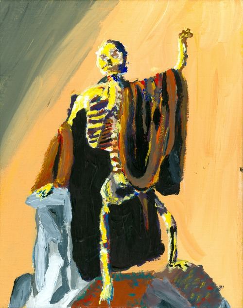 jonathanatkins:  SkeletonJonathan AtkinsAcrylic on Canvas2013 I KID YOU NOT, my teacher loved where I was going and told me to continue. He loves this for some reason!